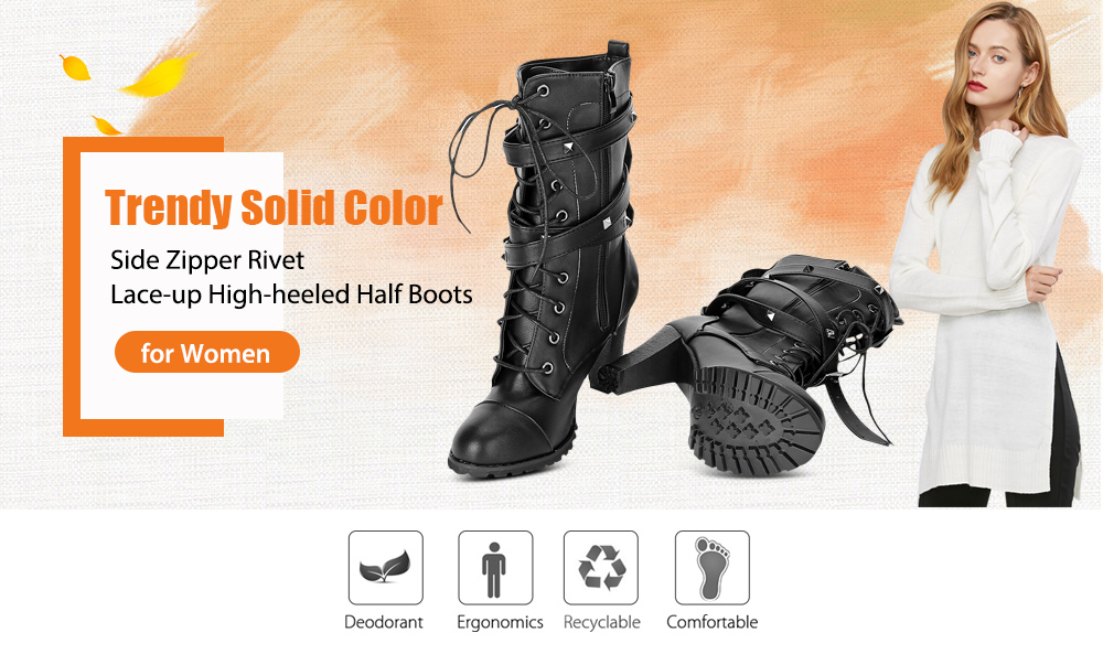 Women Trendy Solid Color Side Zipper Rivet Lace-up High-heeled Half Boots