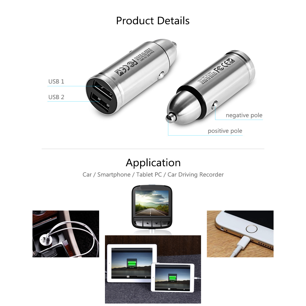 CC204 Stainless Steel Metal Bullet Design with Double USB Interface Car Charger