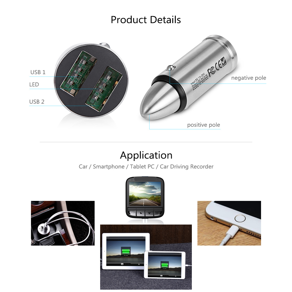 CC202 Stainless Steel Metal Bullet Design with Double USB Interface Car Charger