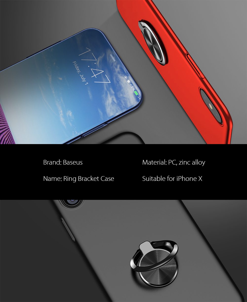 Baseus Ring Bracket Case Protective Pc Back Cover For Iphone X Simple Anti Shock 7 47 Soft Tpu Package Contents 1
