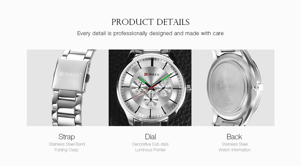 Curren 8282 Male Quartz Watch Ultra-thin Dial Stainless Steel Band Men Wristwatch- Black + Rose Red