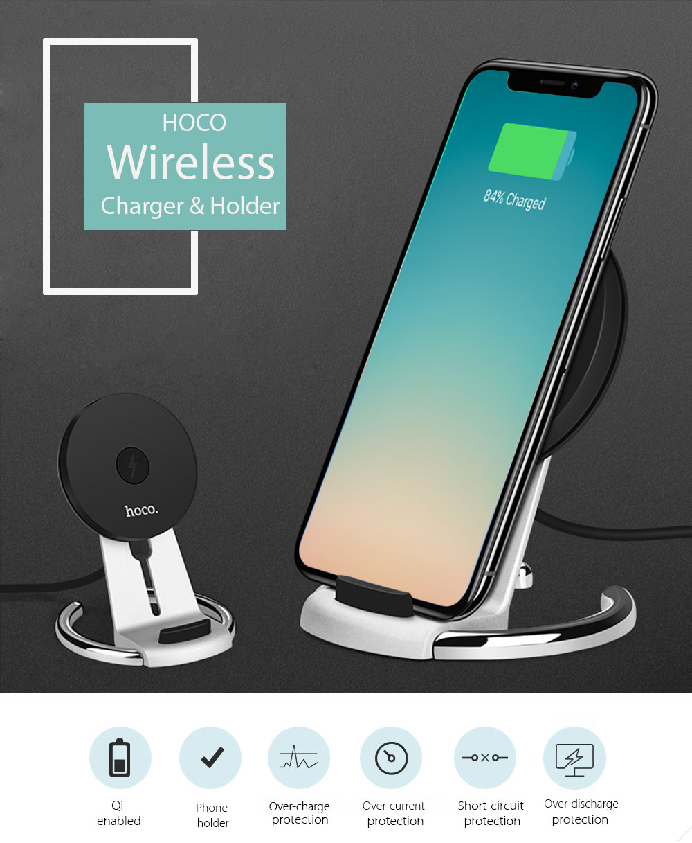 HOCO CW5 Qi Wireless Charging Pad Stand Desktop Holder for iPhone 8 / 8 Plus / X