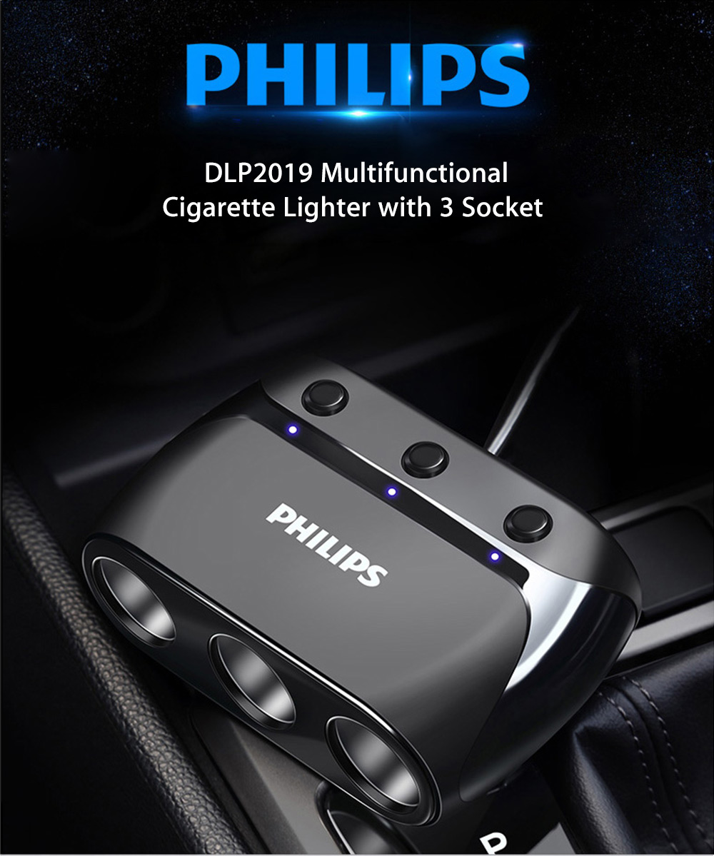 DLP2019 Multifunctional Car Charger Cigarette Lighter with Three Socket- Black