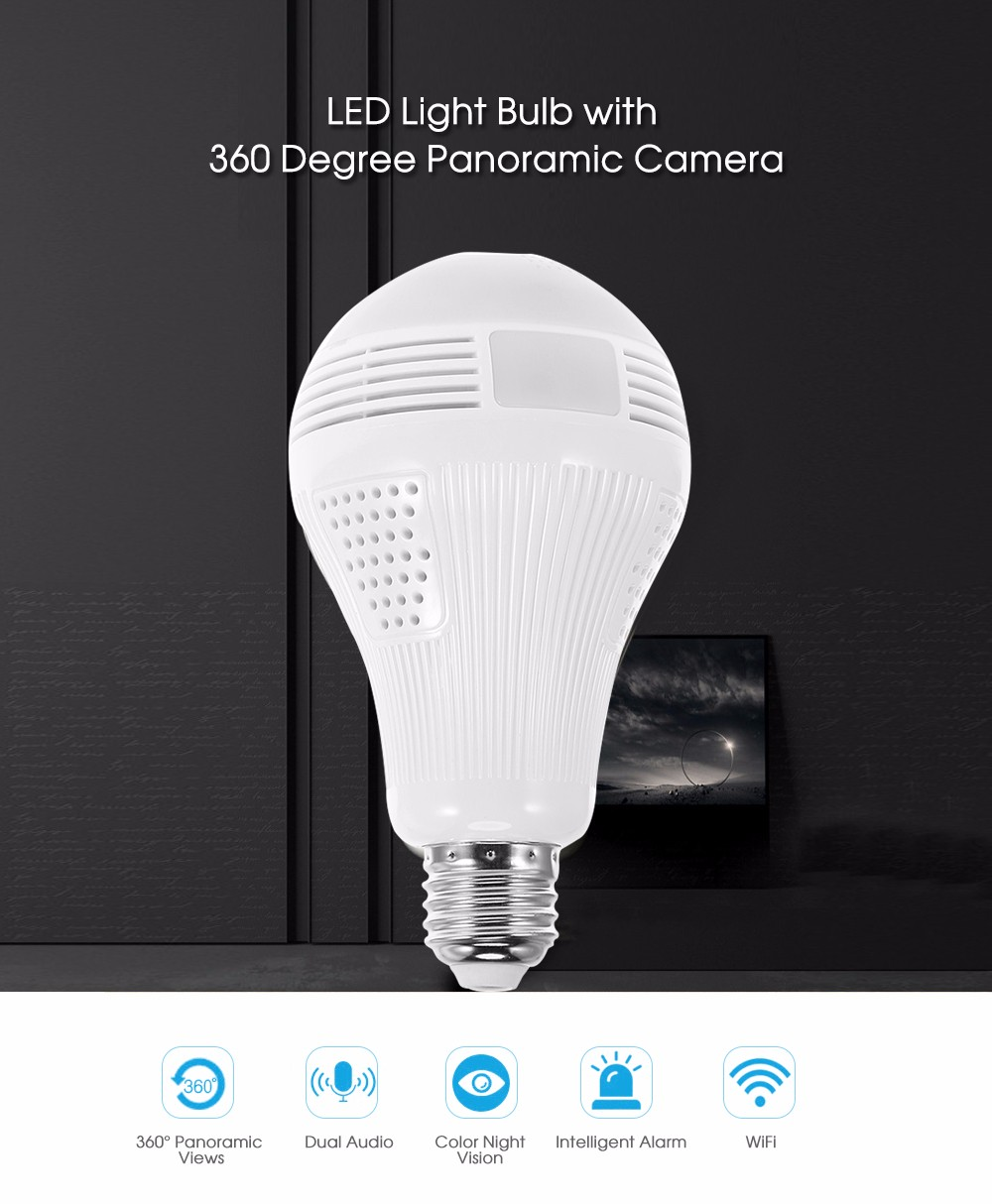 Led light bulb with 360 degree panoramic camera without tf card 360 degree panoramic wireless fisheye camera with led light bulb arubaitofo Images