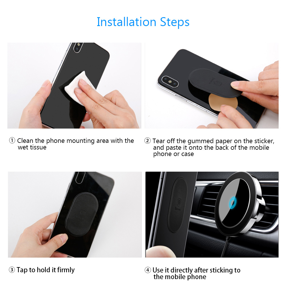 Baseus BSWC - 01 Big Ear Qi Wireless Charger Magnetic Car Mount Holder Clamp and Paste Stand for iPhone X / 8- Black