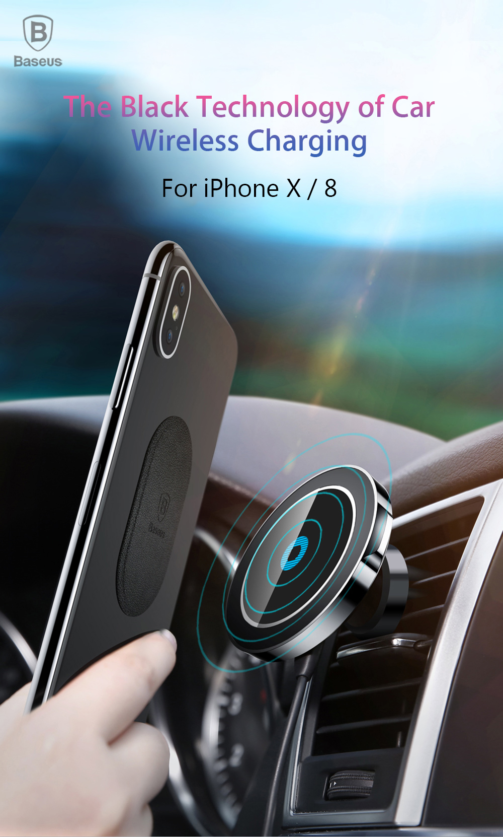 baseus bswc 01 big ear qi wireless charger car mount. Black Bedroom Furniture Sets. Home Design Ideas