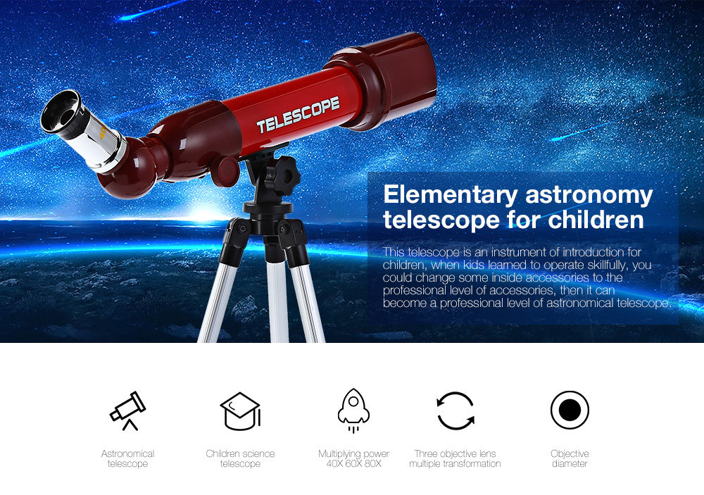 CHN AOHUA 3183 Kids Science Education Elementary Astronomy Telescope Eyepiece Toy