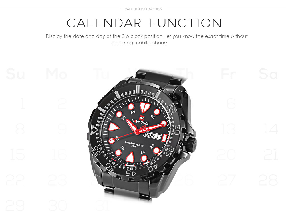 NAVIFORCE 9105 Male Quartz Watch Calendar Luminous Men Wristwatch- Black and red