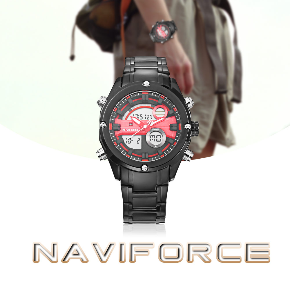 NAVIFORCE 9088 Dual Movt Sports LED Male Watch Calendar Stopwatch Alarm Men Wristwatch- Black and red