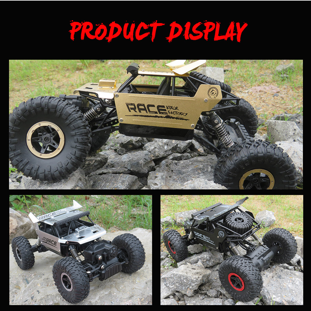 Flytec 9118 1:18 Alloy 2.4G 4WD High Speed Climbing Rock Car Racing Vehicle- Black