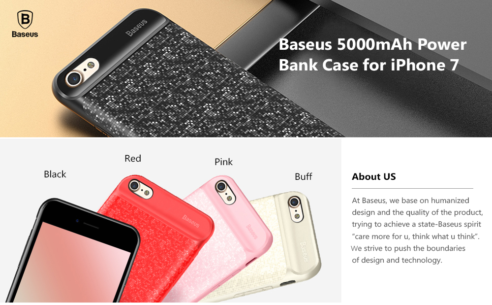 Baseus 5000mAh Backup Battery External Power Bank Charger Case for iPhone 7