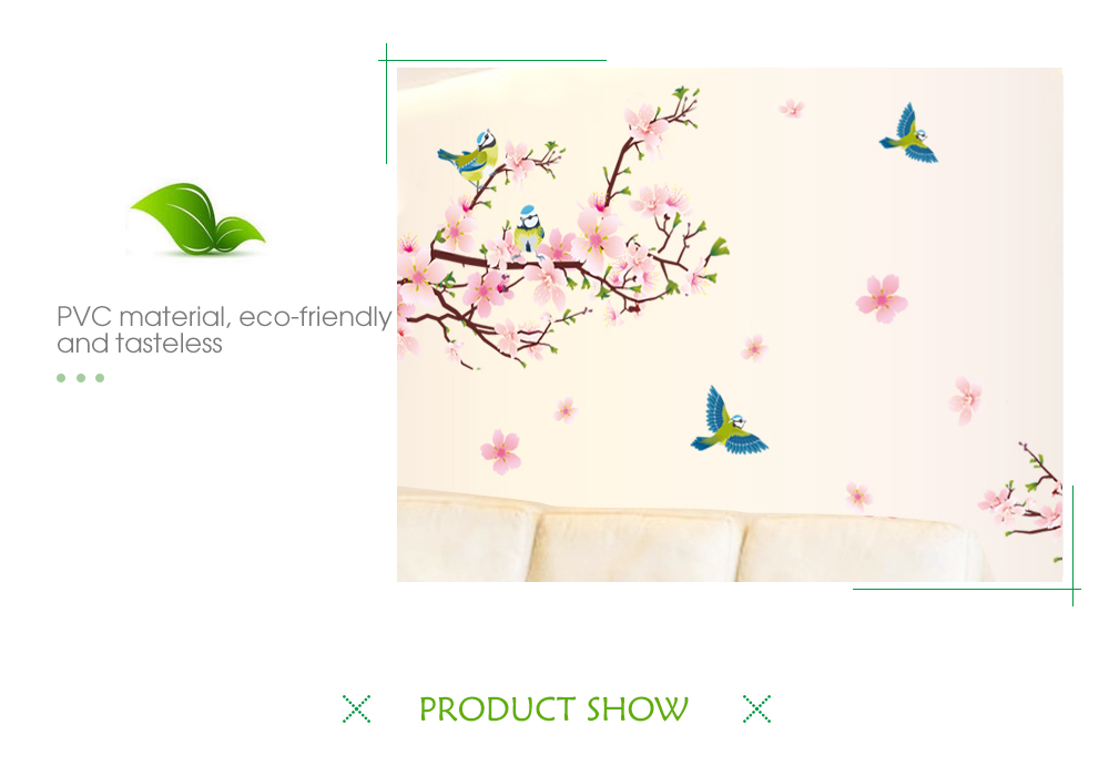 Peach Blossom Wall Sticker for Bedroom Decoration
