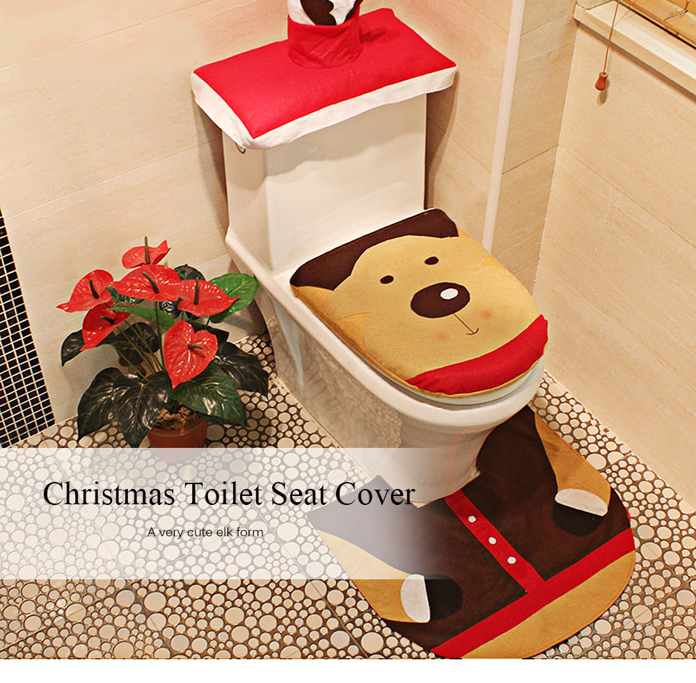 elk toilet seat cover rug set christmas decorations multicolor