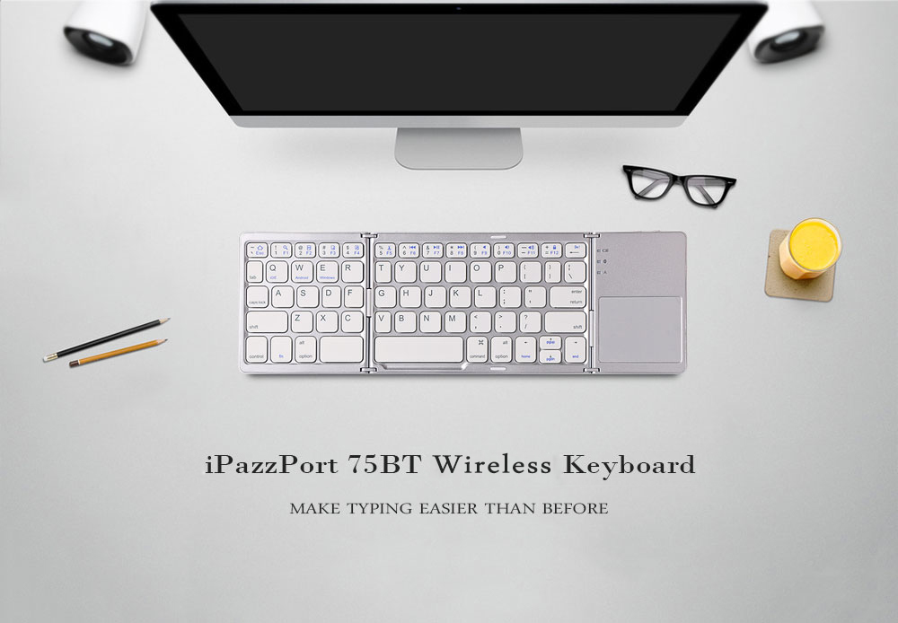 iPazzPort 75BT Wireless Keyboard BT3.0 Folding Ultra-slim Design 64 Keys for iOS Android Windows