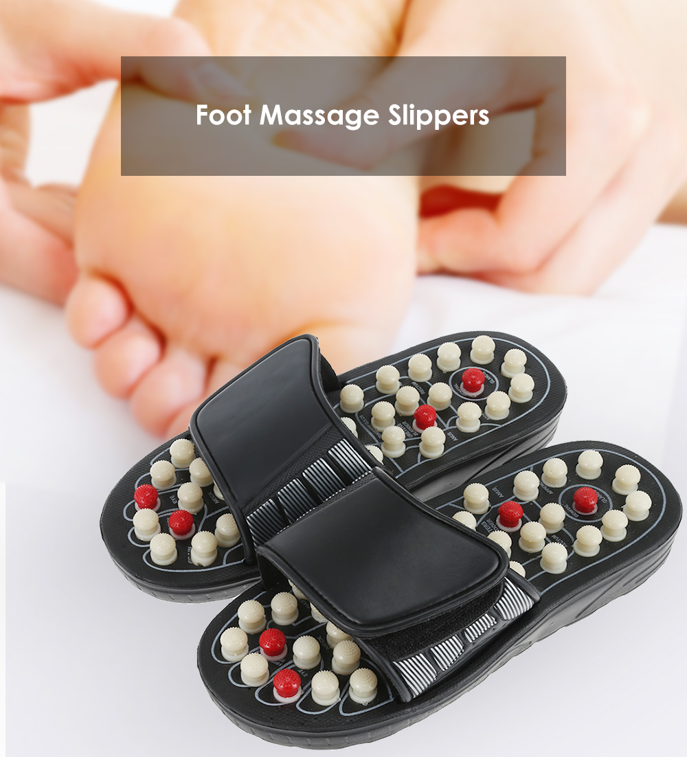 Foot Massage Slippers Revolving Polka-dot Acupoint Pedicures Health Care Shoes- Black Size(40-41)