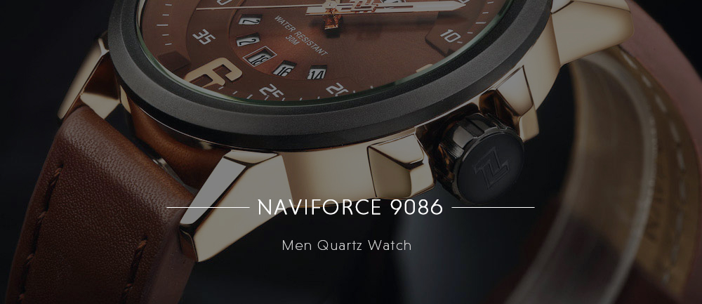 Naviforce 9086 Male Quartz Watch Luminous Date Day Display 3ATM Leather Band Wristwatch- Black and Rose Gold