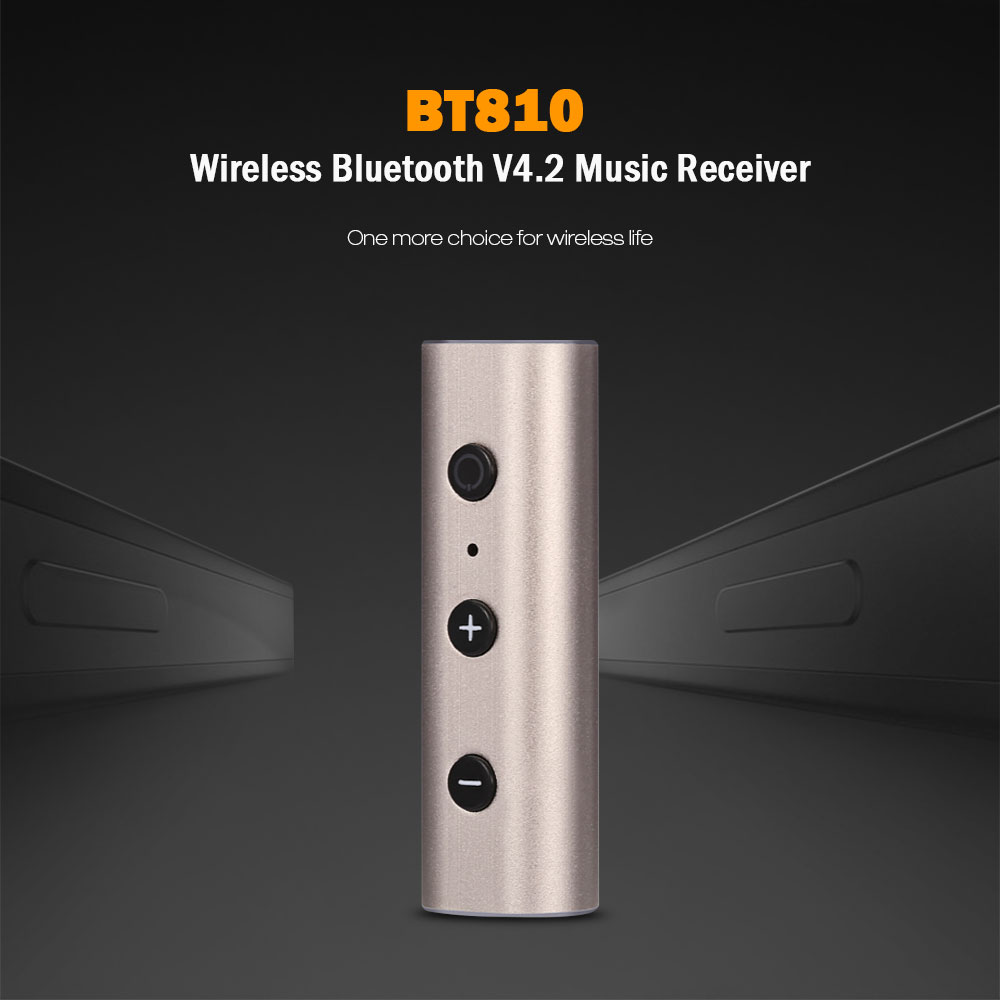 BT810 Wireless Bluetooth V4.2 Music Receiver Back Clip Design Hands-free Call with Mic