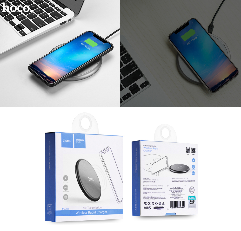 HOCO CW3A Qi Wireless Charging Pad Rapid Roundness Charger for iPhone 8 / 8 Plus / X