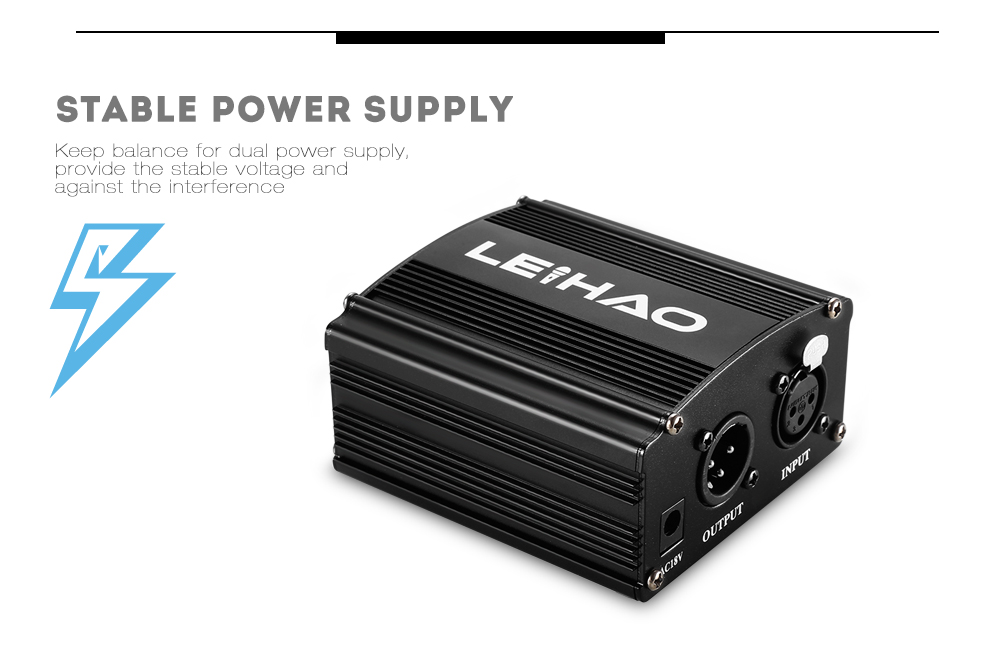 LEIHAO 48V Phantom Power Supply with Adapter XLR Cable