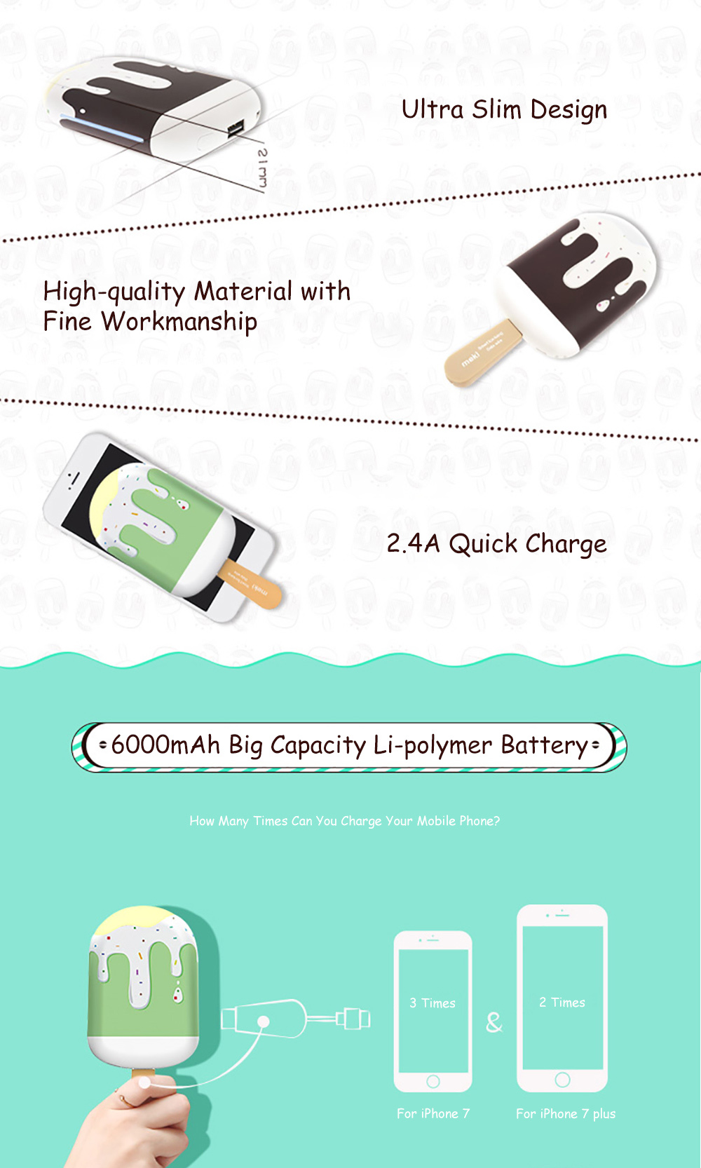 Ice-lolly Shape 6000mAh Portable Power Bank