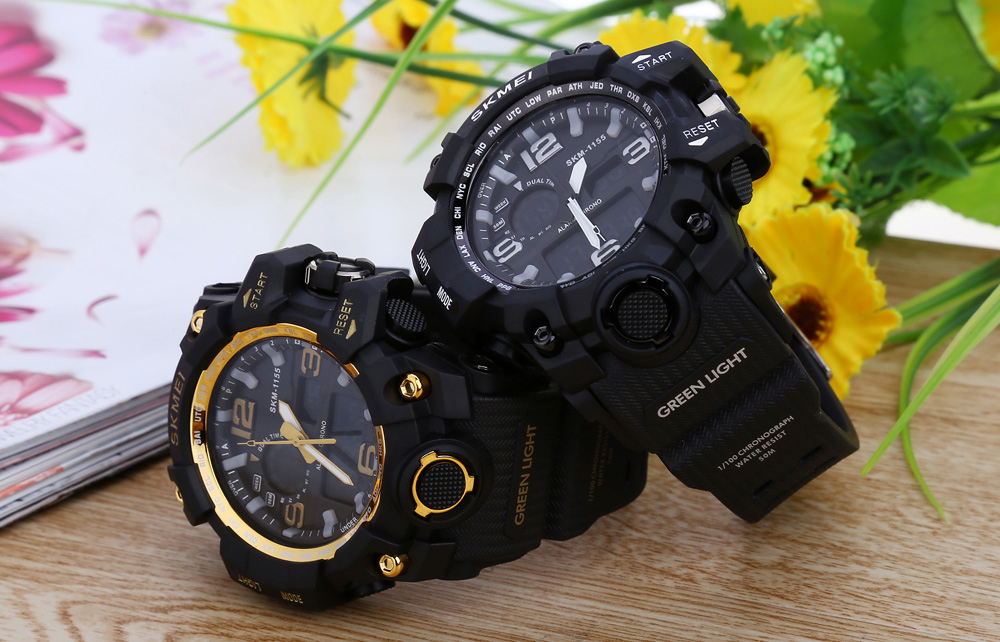 SKMEI 1155 Men Double Movement Watch Water Resistance Dual Time Day Alarm Light Wristwatch