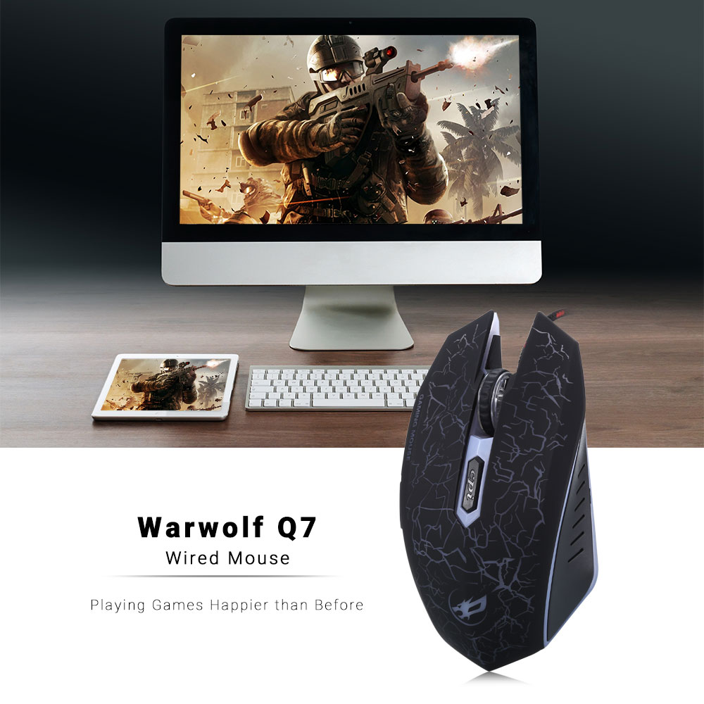Warwolf Q7 Gaming Mouse Adjustable DPI with Colorful LED Light