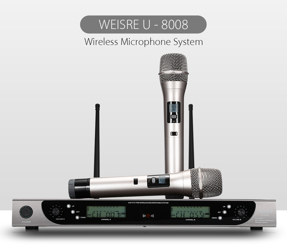 WEISRE U - 8008 Wireless UHF Microphone System Handheld Mic for Home KTV 2 Channels