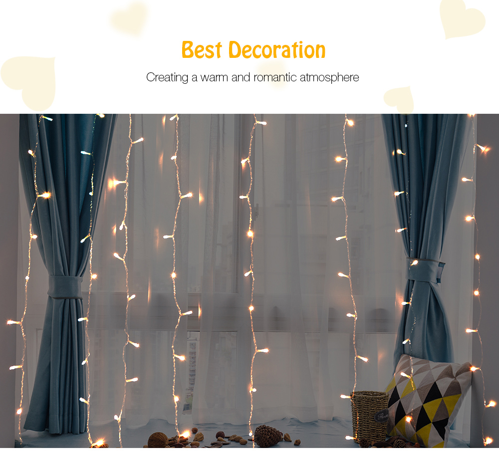 NW - 05300 300 LEDs Window Curtain String Light for Wedding Party Home Garden Bedroom Outdoor Indoor Wall Decorations