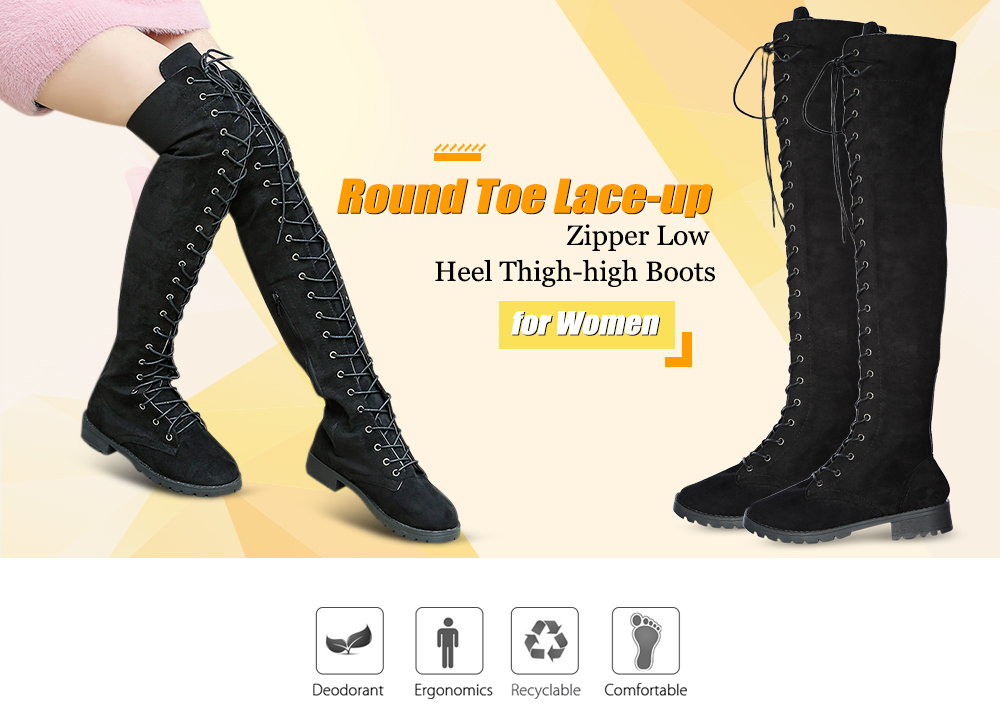 Trendy Round Toe Lace-up Zipper Low Heel Suede Women Thigh-high Boots