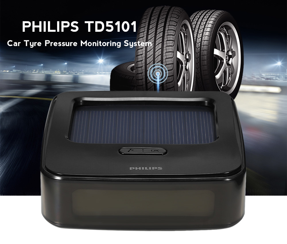 PHILIPS TD5101 Car Tyre Pressure Monitoring System with Solar Panel / 4 External Sensors
