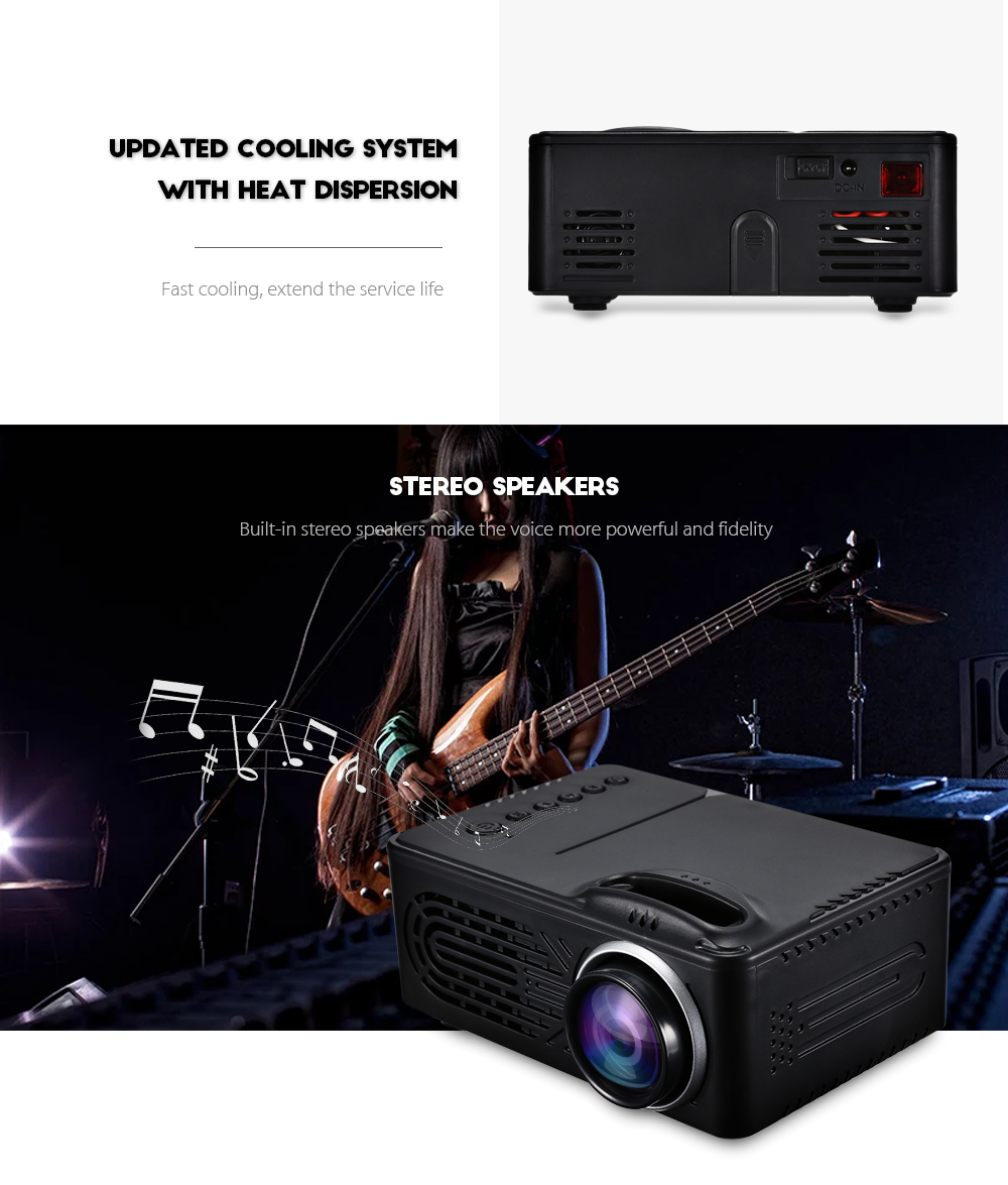 RD - 814 1080P Portable LED Mini Projector Multimedia for Photo Music Movie Text- White US Plug