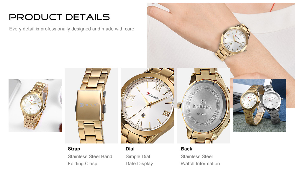 Simple Dial Female Wristwatch- Golden