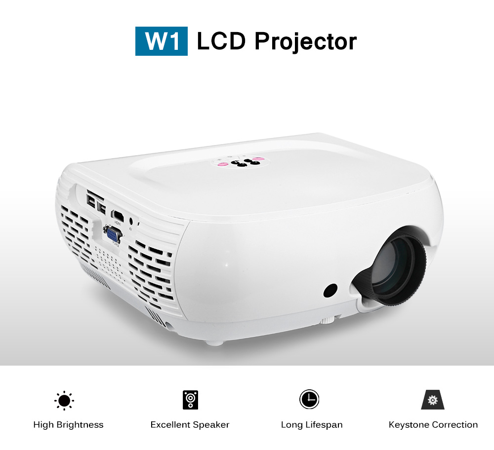 W1 LCD Projector Home Theater 120 ANSI 800 x 480P Support 1080P