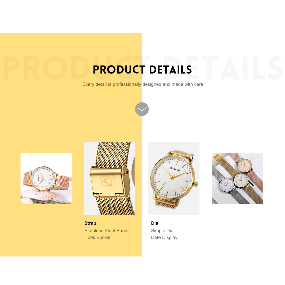Curren 9021 Women Quartz Watch Simple Ultra-thin Dial Female Wristwatch- GOLDEN AND WHITE