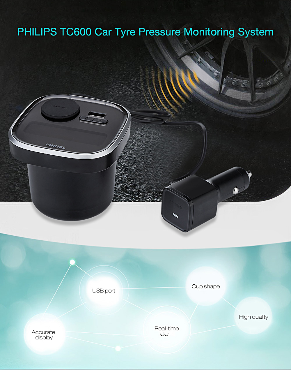 PHILIPS TC600 Auto Tyre Pressure Monitoring System with 4 External Sensors Cup Shape Car / USB Charger