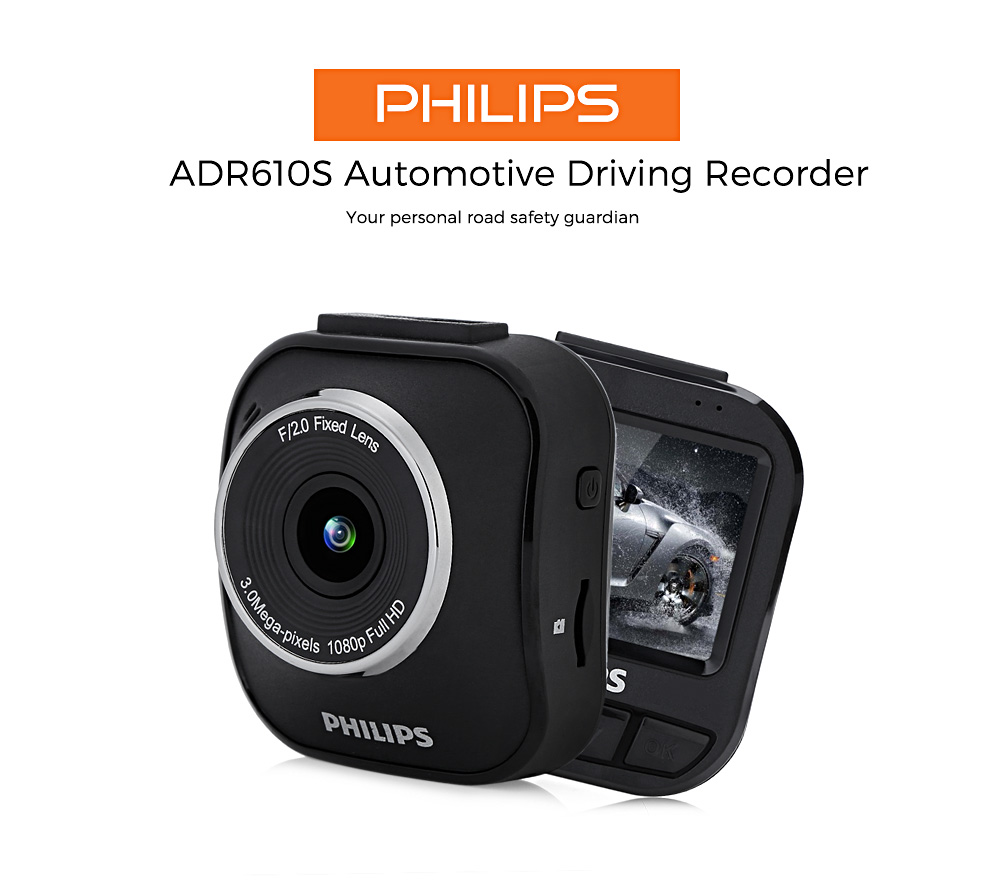 PHILIPS ADR610S 1080P Full HD Car Driving Video Recorder Four Recording Modes 120 Degree Wide Angle