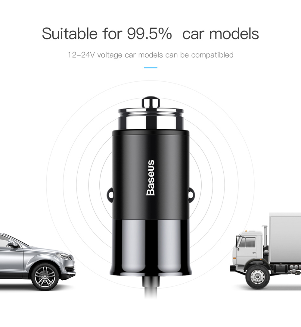 Baseus Four Output  Phone Car Charger Front Single Port Rear Three USB