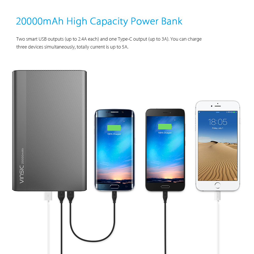 Vinsic Vspb304 20000mah External Battery Power Bank 3398 Free Powerbank Portable Fan 2 In 1 With 3 Outputs Type C Smart