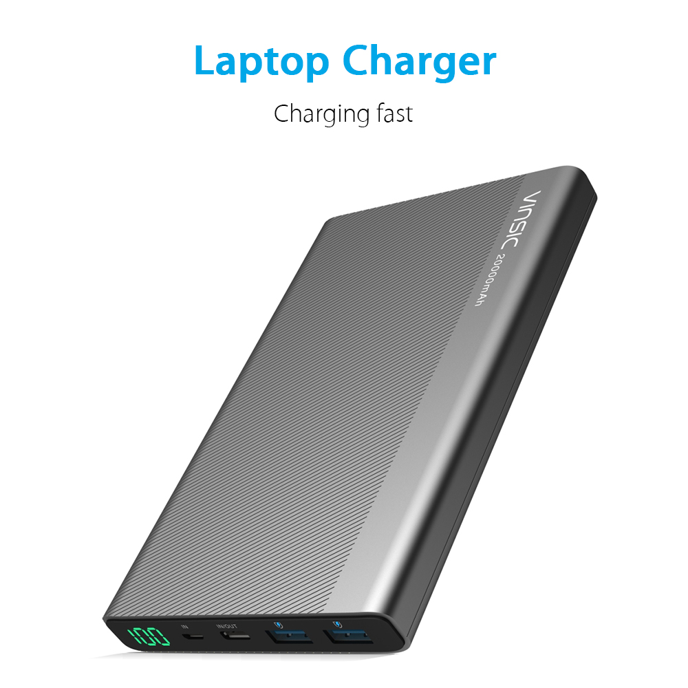 VINSIC VSPB304 20000mAh External Battery with 3 Outputs (1 Type-C + 2 Smart USB) and 2 Inputs (1 Type-C + 1 Micro USB) Portable Charger