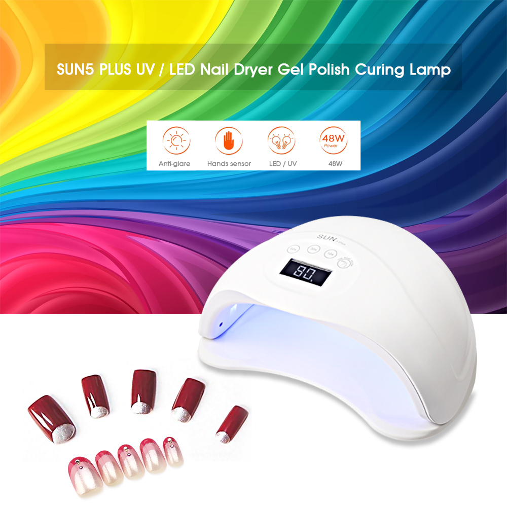 SUN5 PLUS 36 / 48W UV / LED Nail Dryer Gel Polish Curing Lamp with LCD Display
