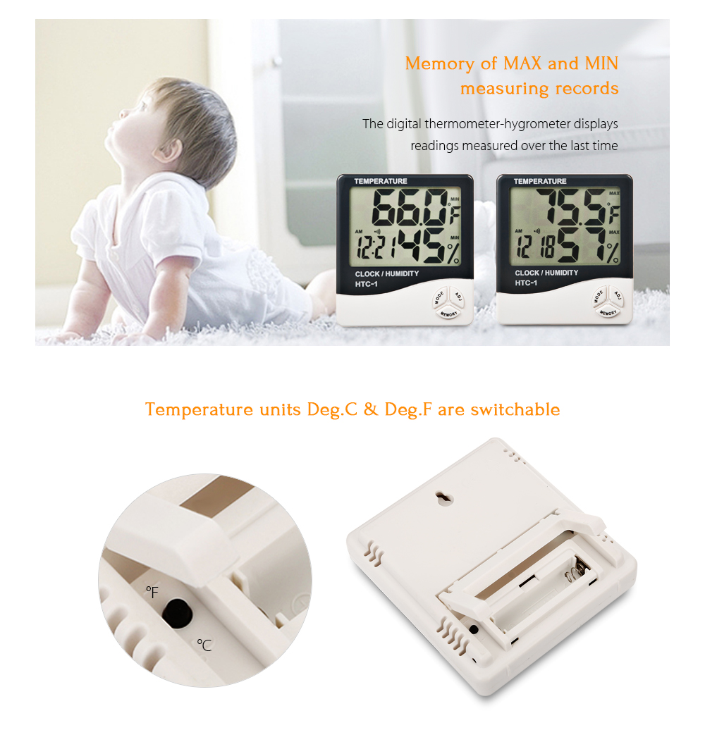 Digital Lcd Electronic Temperature Humidity Meter Alarm Clock Thermometer Hygrometer Htc 1 White