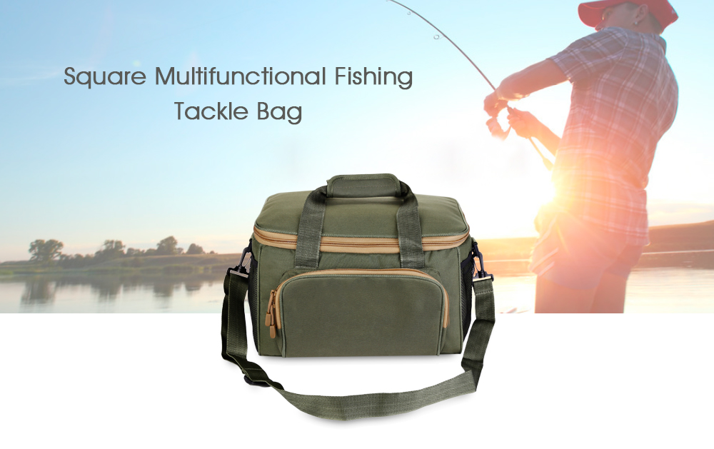 LEO Square Multifunctional Fishing Tackle Bag Canvas Waist Lure Pack
