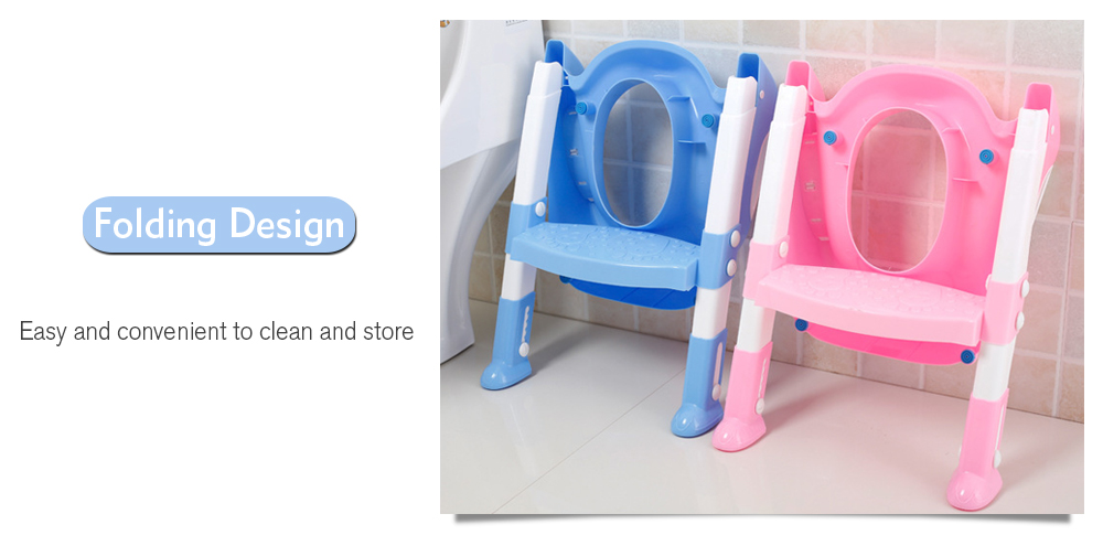 Folding Baby Potty Training Toilet Chair with Adjustable Ladder- Pink