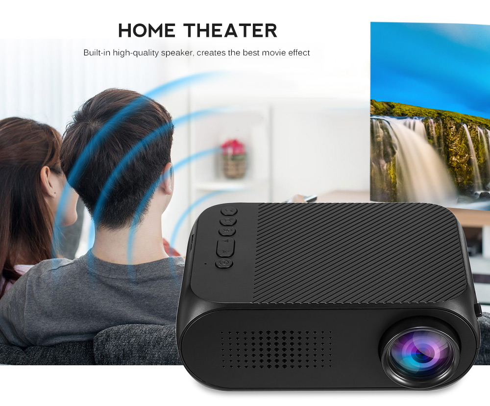 YG320 Mini Portable Projector 400 - 600 Lumens 320 x 240P Support 1080P- White US