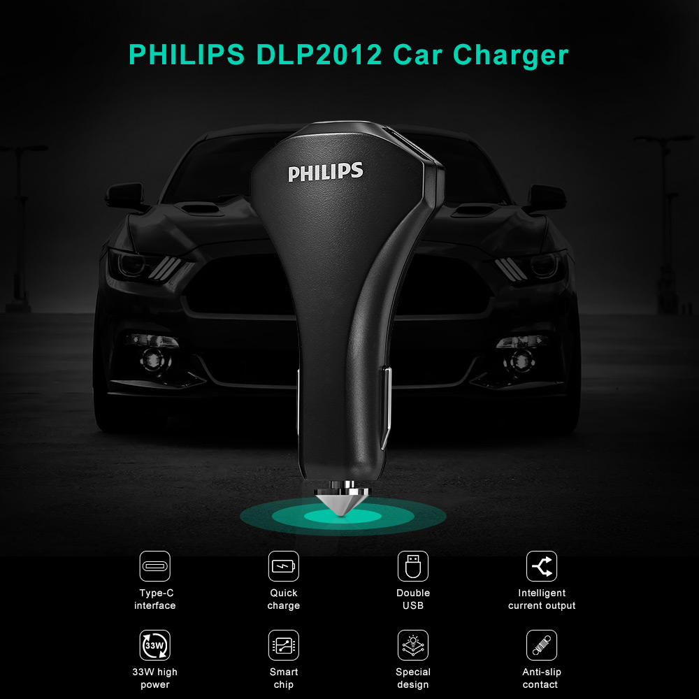 PHILIPS DLP2012 Car Charger Quick Charge 3.0 / Type-C / Dual USB
