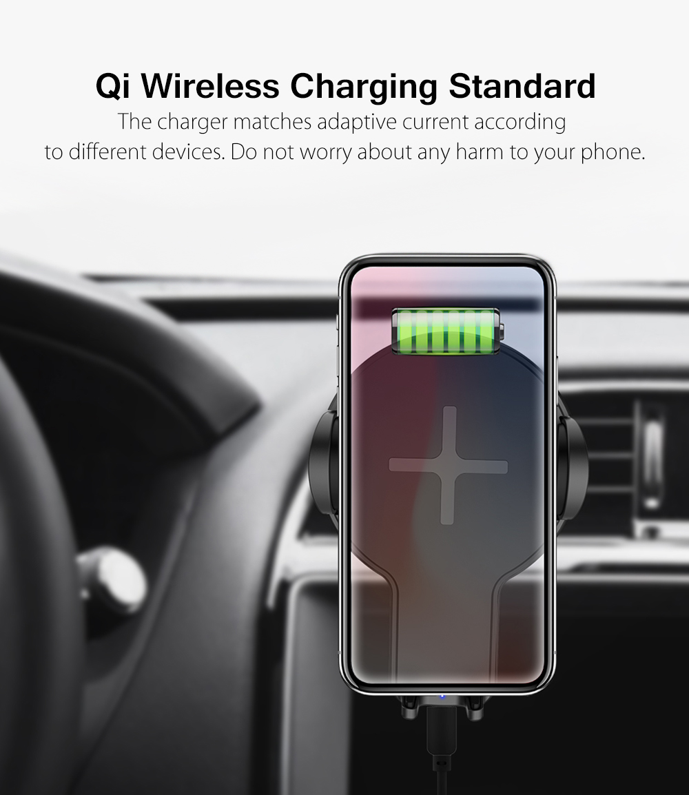 MCDODO Wireless Charger Mount 10W Strong Suction 360 Degree Rotation