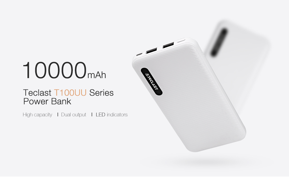 Teclast T100UU Series Power Bank 10000mAh 5V 2.1A Dual Output Micro USB Input Polymer Battery Indicator Lights
