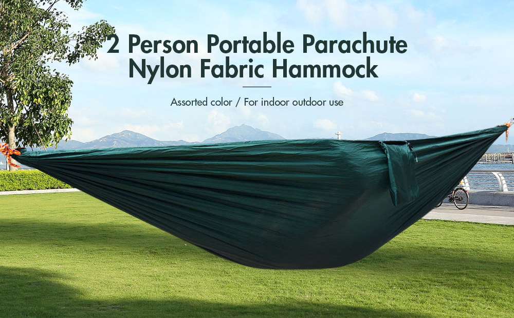 2 person hammock assorted color portable parachute nylon fabric for indoor outdoor use 2 person hammock assorted color parachute nylon fabric   18 36      rh   gearbest