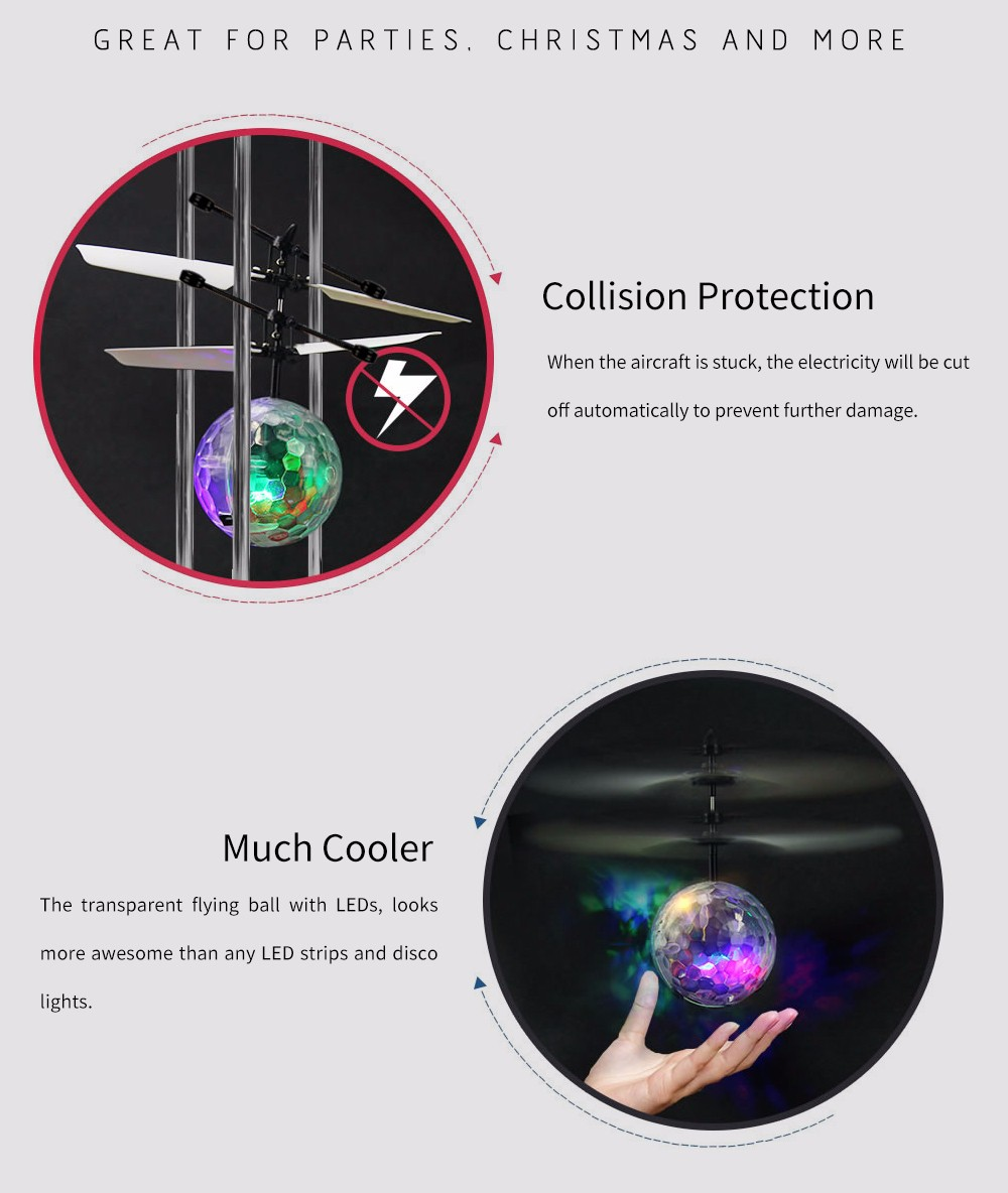 Mini Children Flying Crystal Ball LED Flashing Stage Light Aircraft Helicopter Infrared Induction Toy- Transparent