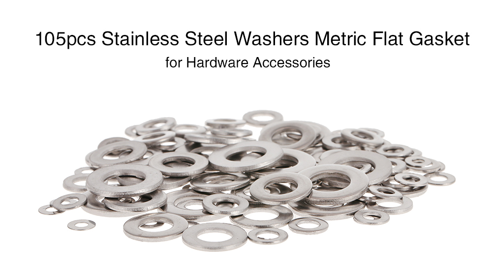 105pcs Stainless Steel Washers Metric Flat Gasket  for Hardware Accessories